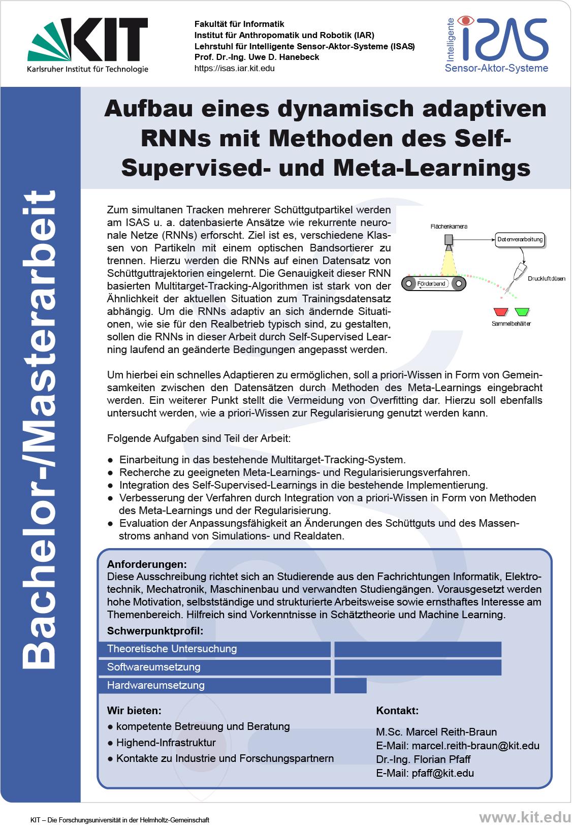 Aufbau eines dynamisch adaptiven RNNs mit Methoden des Self-Supervised- und Meta-Learnings