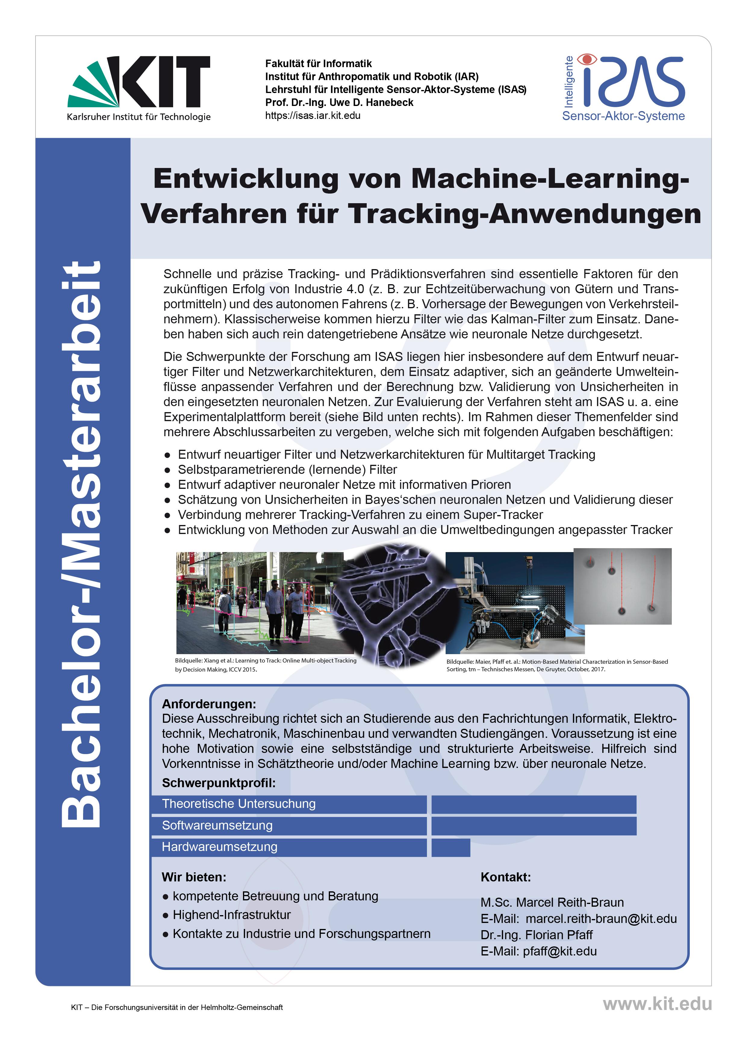 Entwicklung von Machine-Learning- Verfahren für Tracking-Anwendungen