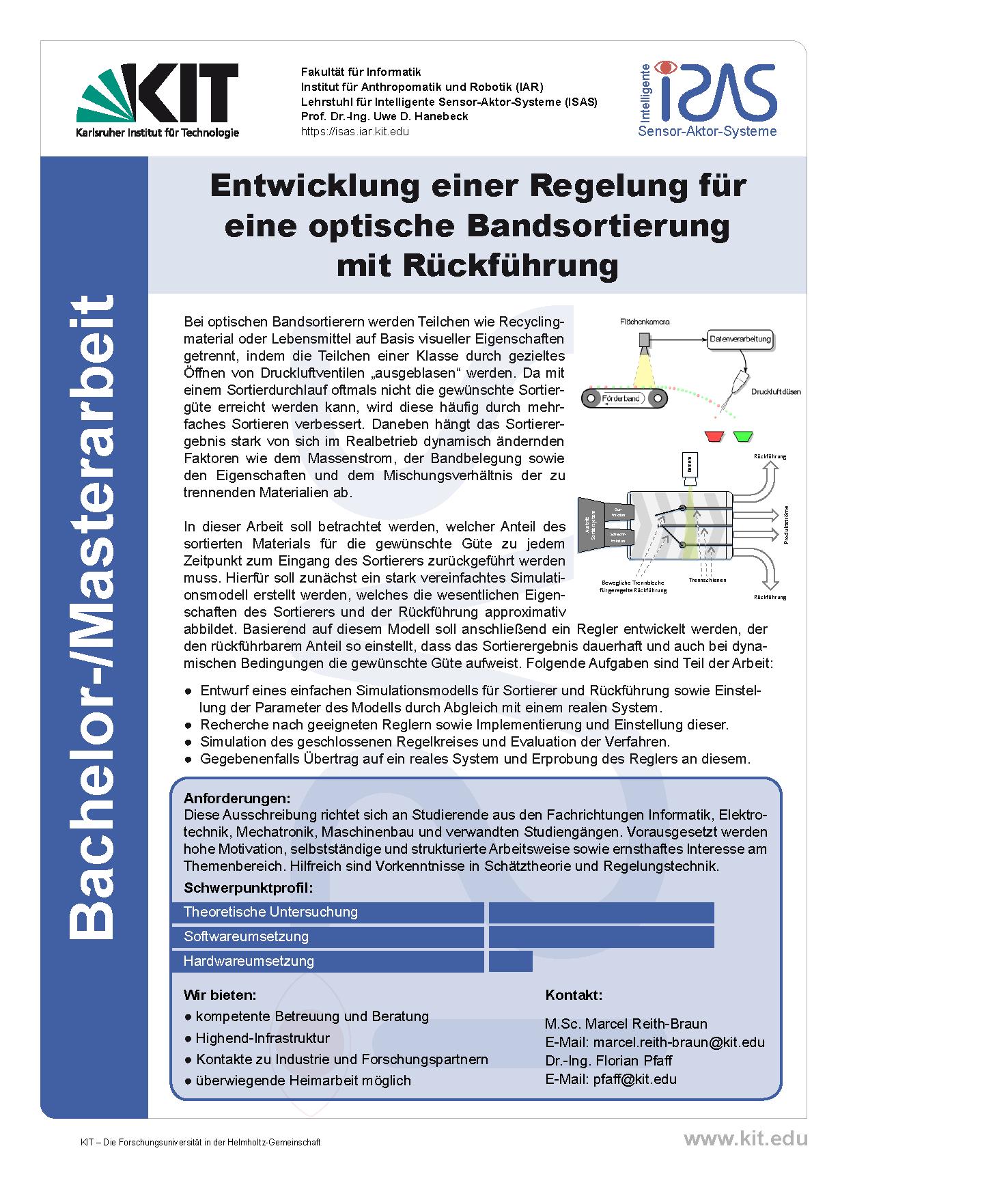 Entwicklung einer Regelung für eine optische Bandsortierung mit Rückführung