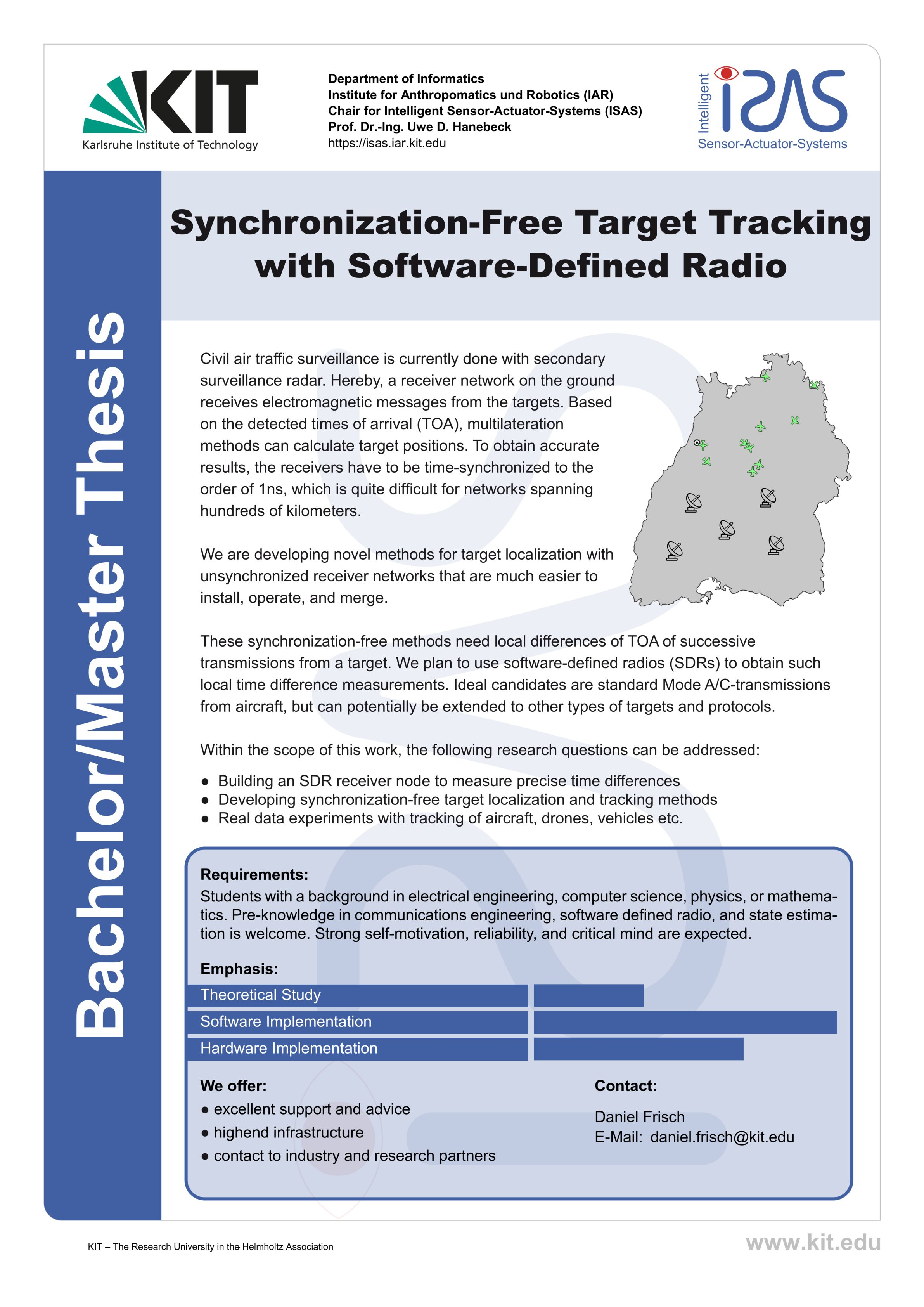 Synchronization-Free Target Tracking with Software Defined Radio