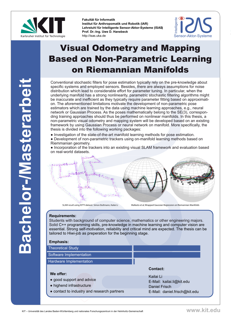 Visual Odometry and Mapping based on Non-Parametric Learning on Riemannian Manifolds